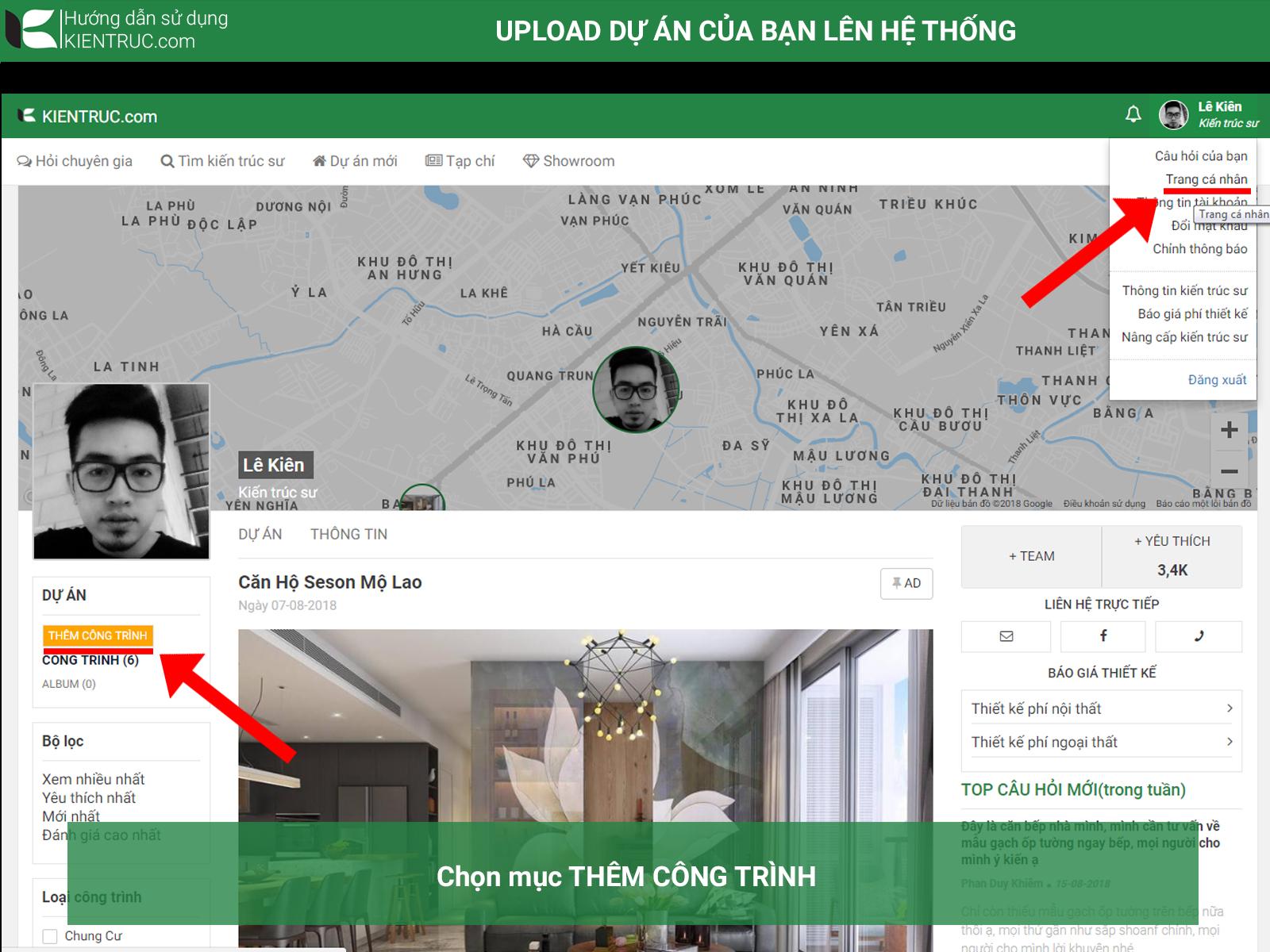 hướng dẫn upload dự án lên kientruc.com