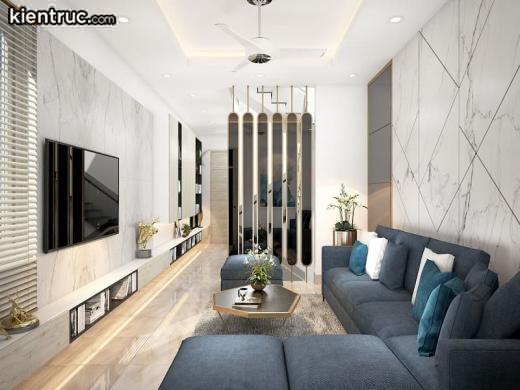 Phòng khách nhà ống 6m mang đến không gian rộng rãi, thoải mái