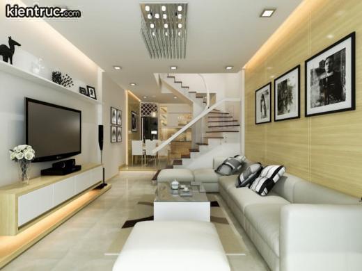 Diện tích phòng khách của nhà ống được thiết kế dựa trên tổng diện tích của cả ngôi nhà