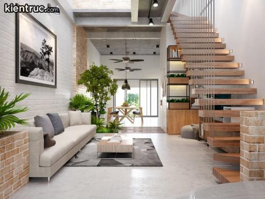 Phòng khách nhà ống 5m sẽ rộng hơn khi có cách bố trí màu sắc phù hợp