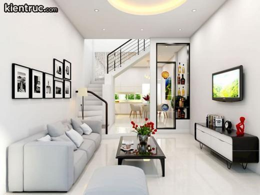 Thiết kế phòng khách nhà ống 5m giúp việc lựa chọn đồ nội thất dễ dàng hơn  • Phòng khách nhà ống 6m