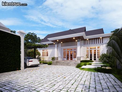 Phong cách tân cổ điển tạo nên biệt thự 1 tầng hoàn hảo