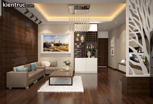 Thiết kế căn hộ chung cư cao cấp nội thất gỗ ấm áp