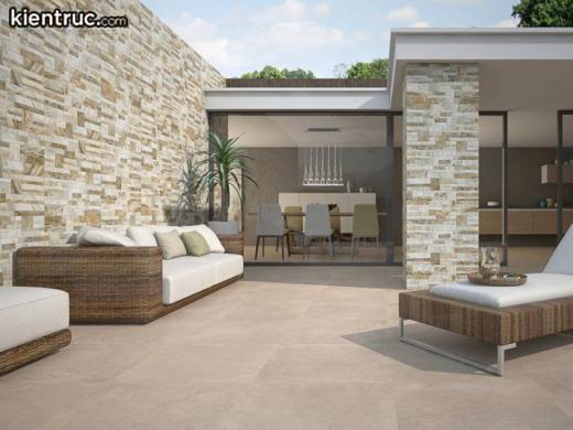 Mặt tiền nhà kết hợp gạch ốp tường