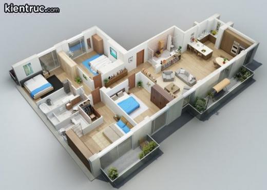 nhà cấp 4 hiện đại 4 phòng ngủ