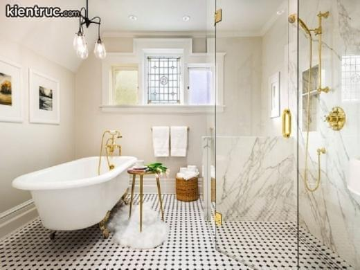 Phòng tắm hiện đại được sử dụng màu sắc ấn tượng, độc đáo