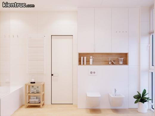 Gia chủ thiết kế phòng tắm hiện đại sẽ không phải giấu tất cả mọi thứ trong đó nhưng các khu vực chuyên dụng để giữ đồ vệ sinh cá nhân thì phải có, như chiếc bàn gỗ này.