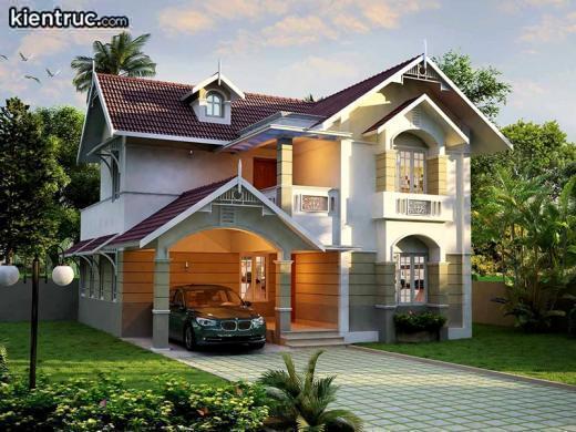 Mô hình nhà lồi lõm đã trở thành kiểu thiết kế kinh điển không thể thay thế khi xây dựng biệt thự 2 tầng