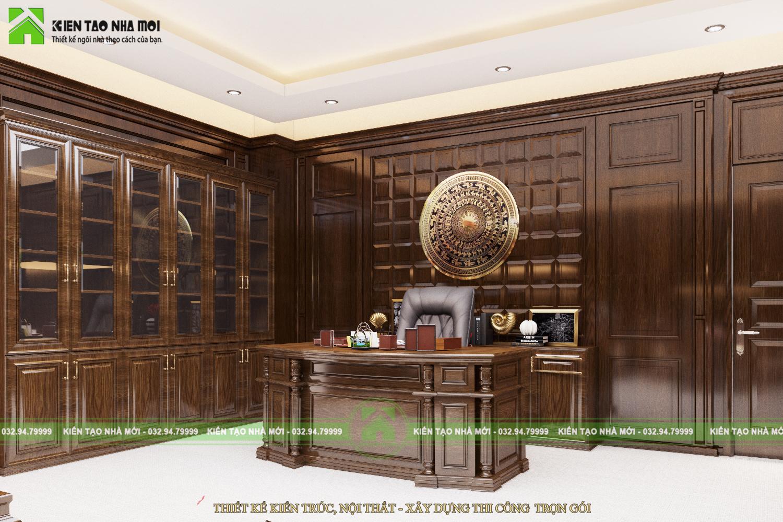 thiết kế nội thất Văn Phòng tại Hà Nội THIẾT KẾ NỘI THẤT PHÒNG LÀM VIỆC CHO CHỦ TỊCH SANG TRỌNG, ẤN TƯỢNG TẠI HÀ NỘI NT1844 0 1564370904