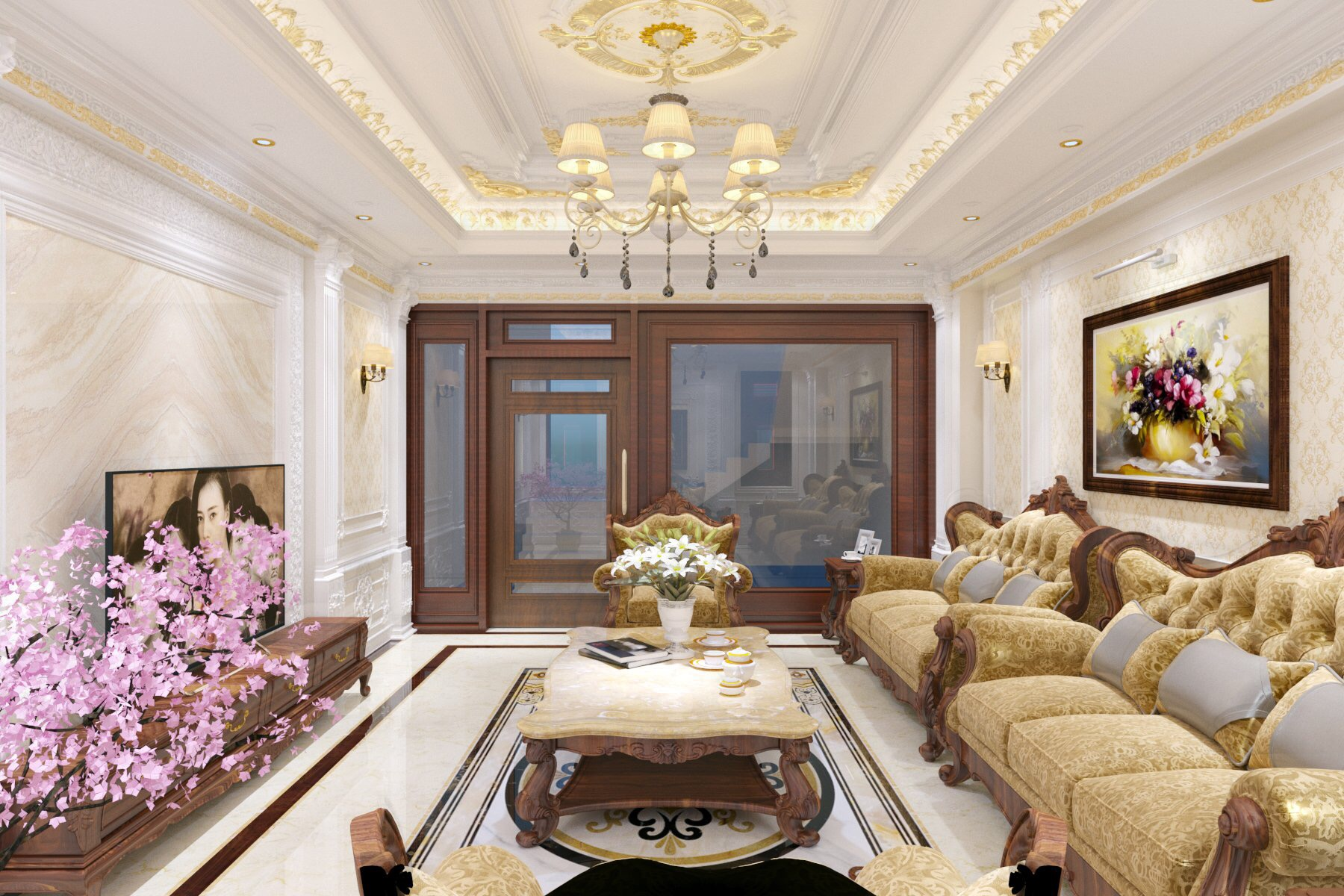 thiết kế nội thất Nhà Mặt Phố tại Bắc Giang Phòng khách cuối năm 2 1549032264