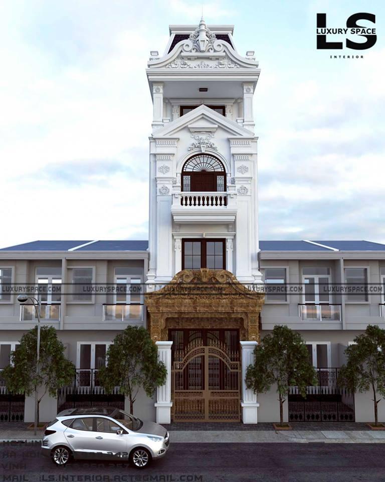 thiết kế Nhà Mặt Phố 4 tầng tại Quảng Ninh  Thiết Kế Nhà Ống hong cách Tân Cổ Điển 0 1547492171