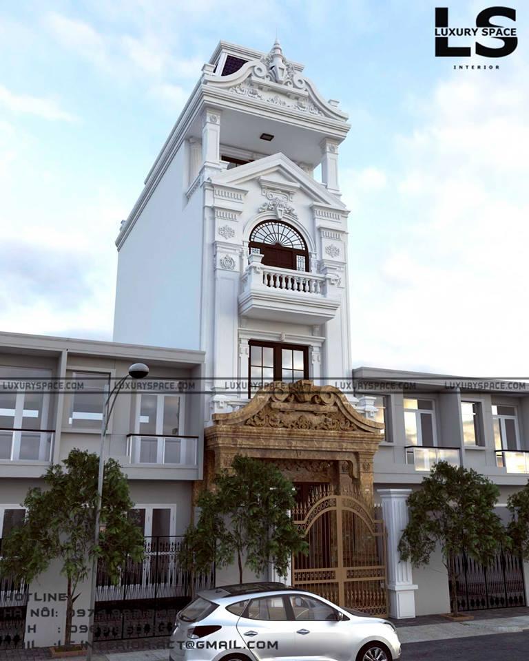 thiết kế Nhà Mặt Phố 4 tầng tại Quảng Ninh  Thiết Kế Nhà Ống hong cách Tân Cổ Điển 1 1547492171