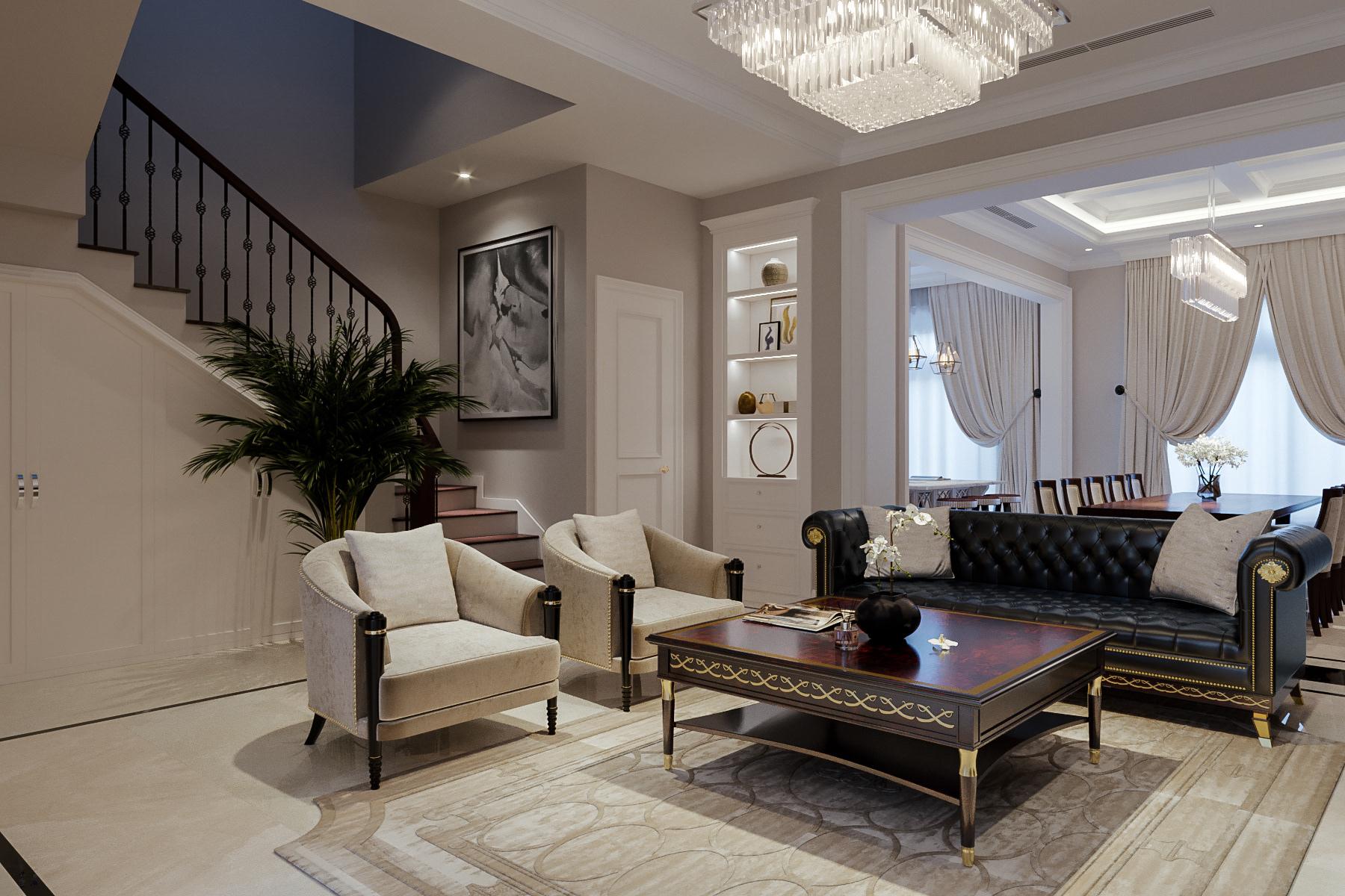 thiết kế nội thất chung cư tại Hà Nội CĂN HỘ TÂN CỔ ĐIỂN SANG TRỌNG VINHOME RIVERSIDE 3 1533269363