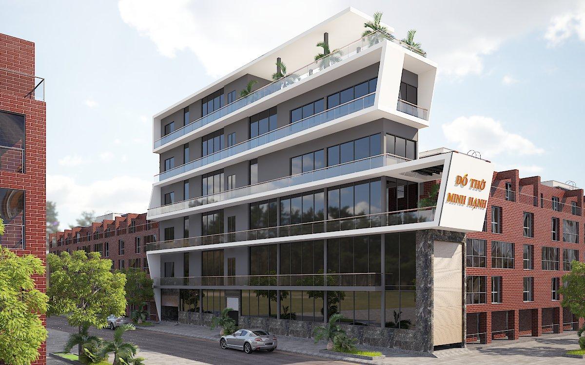 thiết kế Nhà Mặt Phố 6 tầng tại Bắc Ninh nhà ở và showroom bán hàng 2 1554485827