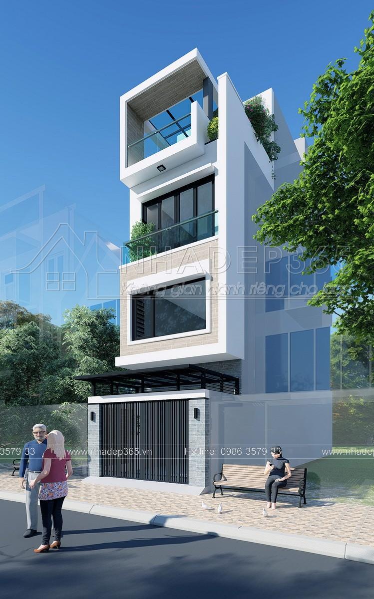 Thiết kế Nhà Mặt Phố tại Hà Nội Thiết Kế Nhà Phố 4 Tầng Diện Tích 3,7×17m Hiện Đại 1589872954 0